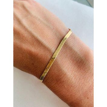 18K Plated Herringbone Bracelet 3mm - Made in Italy