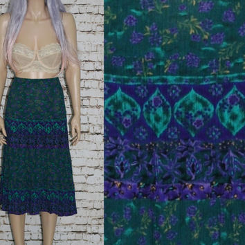 90s High Waist Skirt Crinkle Midi Maxi Broomstick Gauzy Purple Green Gypsy 70s Grunge Boho Hipster Hippie Tiered Floral Ethnic Festival L XL