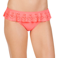 Coral Laser Cut Swim Bottom With Ruffle - Coral