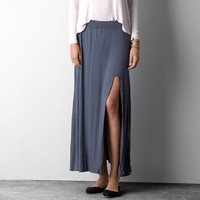 Don't Ask Why Side Slit Maxi , Gunmetal | American Eagle Outfitters
