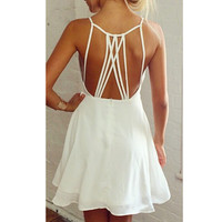 New 2016 Summer Fashion Women Ladies Sexy Backless Bandage Halter Chiffon Dresses Casual Beach Sun Dress Bodycon Party Dress Z2