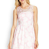 LOVE 21 Textured Floral Cutout Dress Cream/Pink