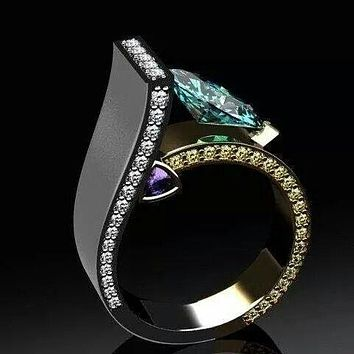 Luxury 925 Sterling Silver 14K Yellow Gold Double Tone Ring Natural Emerald And Amethyst Ring Anniversary Gift Engagement Bridal Wedding Jewelry Ring Size 5-11