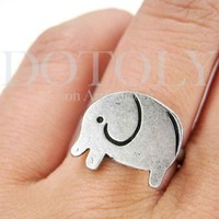 Simple Elephant Adjustable Ring in Silver | smileswithlove - Jewelry on ArtFire