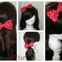 Red and white Clip on hair bow