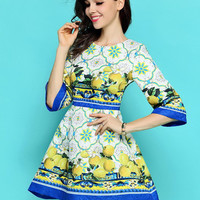 Yellow and Blue Printed Dress