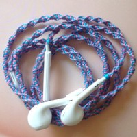 Handmade Wrapped Tangle-Free Earbuds | Pink & Lavender Twist| Genuine iPhone EarPods
