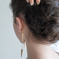 Long Gold Ear Cuff, Hammered Spikes, Goldfilled Chains
