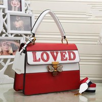 """Gucci"" Women Fashion Personality Multicolor Letter Little Bee Lock Single Shoulder Messenger Bag Handbag"