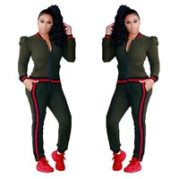 Contrast Bands Green Tracksuit with Puff Shoulder