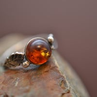 Sterling Silver and Amber Ring with Leaves