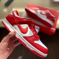 "NIKE DUNK LOW ""UNIVERSITY RED"" low-top flat skate shoes"