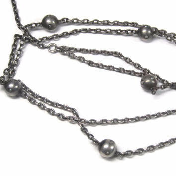 Antique Sterling Seed Pearl Lorgnette Y Chain Necklace