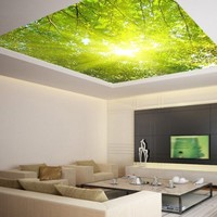 """Ceiling LAMINATED STICKER MURAL leaves trees spring forest airly decole poster 93""""x93"""""""