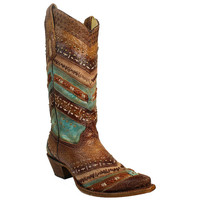 Corral Women's Embroidery and Studs Snip Toe Western Boots