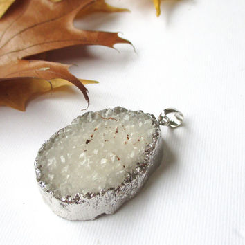 Silver White Druzy Pendant, White Sparkly Agate Stone Teardrop Silver Pendant With Loop, Select With/ Without Chain