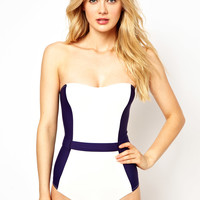 ASOS Contrast Panel Belted Bandeau Swimsuit