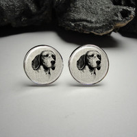 Beagle Portrait Linen Cuff Links and Tie Clip Set 20mm/ Dog Silver Tie Clip and Cuff Link Set for Him/ Men Gift