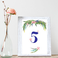 Set of 16 Table Numbers - Wildflower Floral Arrangement Wedding Reception Decor