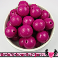 20mm Magenta Red Violet Round Acrylic Bubblegum Beads 10 pieces