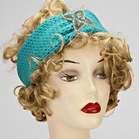 Turquoise Knitted Tan Floral Turban Headband