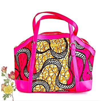 Kwasi African  Designer Bag With Leather Straps