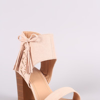 Suede Side Corset Ankle Cuff Open Toe Chunky Heel