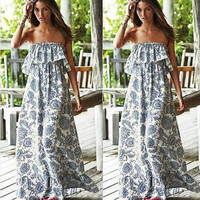 Summer Dress Plus Size Women Clothing Long Dress Bohemian Chiffon Women Maxi Dress = 1928399620