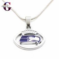 10pcs Seattle Seahawks Charms Football Team sports Pendant necklace with snake chain(45+5cm) necklace For Women Men DIY Jewelry
