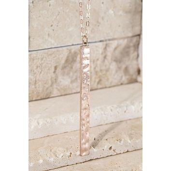 Hammered Metal Long Bar Pendant Necklace in Rose Gold