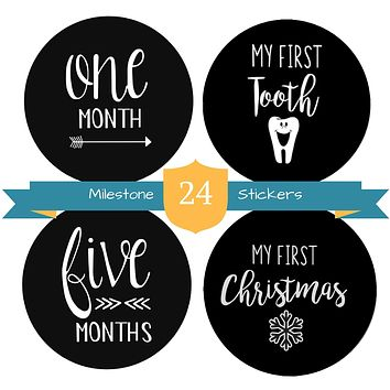 """Baby Milestone Stickers by The Hamptons Baby - 24 Pack of Monthly Belly Milestones for Onesuits, Months, Milestones, Firsts & Holidays - First Year (4"""" Round)"""