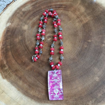 Damask Necklace, Pink Necklace, Glass Pendant Necklace, Floral Necklace, White Necklace, 22 Inch Necklace, Beaded Necklace, Womens Necklace