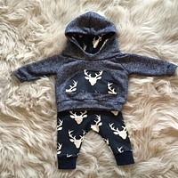 2016 Spring Autumn Baby Boys Clothing set Warm Deer 2PCS Casual Sport Tracksuit Infant Toddler Boys Clothes Top T shirt+Pants