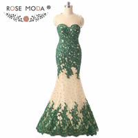 Real Photos Sheer O Neck Sleeveless Green Lace Mermaid Prom Dress Illusion Back Formal Dress for Wedding Party Guest