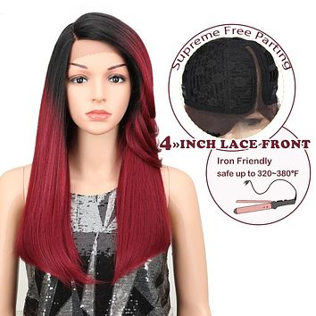 Hiar Straight Wigs 22 Inch Blonde Red Synthetic Lace Front Wigs