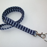 Lanyard / Key Leash ID Badge Holder - NEW THINNER design - Navy White stripes lines  - Lobster clasp and key ring