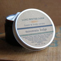 Mountain Lodge Cream with Organic Aloe Juice hand body Lotion Balsam Juniper