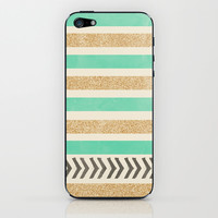 MINT AND GOLD STRIPES AND ARROWS iPhone & iPod Skin by Allyson Johnson