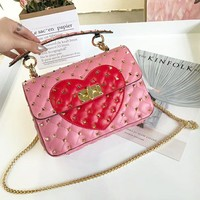Valentino 2018 counter vacuum plated rivets punk female fashion Messenger bag F-AGG-CZDL