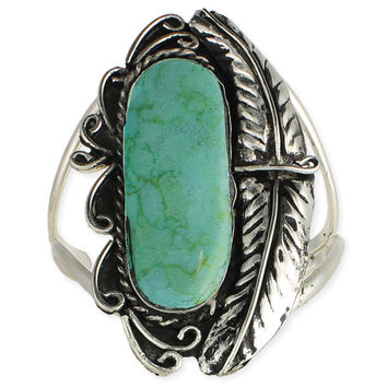 Feather and Turquoise Cuff Bracelet