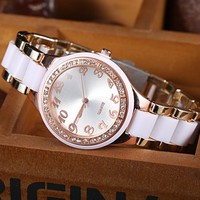 MK Ladies Watch Stylish Pottery Quartz Rhinestone Korean Fashion Bracelet Watch+Best Gift
