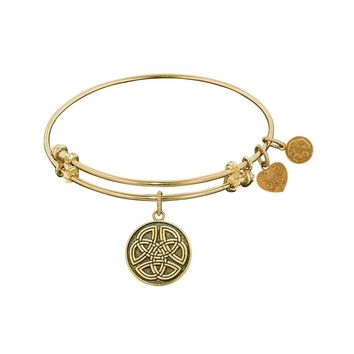 """Angelica Collection Antique Smooth Finish Brass """"celtic Round Knot"""" Expandable Bangle"""