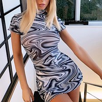 Short-sleeved tight-fitting hip skirt sexy high-necked European and American short skirt swirl print psychedelic print dress Grey