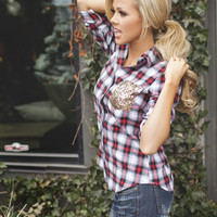 Sequins and Plaid Button Up Top
