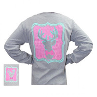 Bjaxx Preppy Deer Bow Bowtie Gray Hunt Country Girlie Long Sleeve Girlie Bright T Shirt