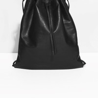 & Other Stories | Drawstring Leather Backpack | Black