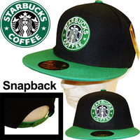 New snapback **STARBUCKS** logo embroidered baseball cap hat Flat Bill Souvenir