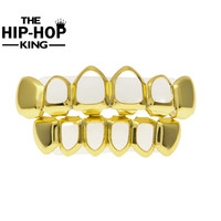 Gold Color Hiphop Teeth Grill Top & Bottom Grill Hip Hop Bling Hollow Vampire Teeth for Halloween Christmas Gift