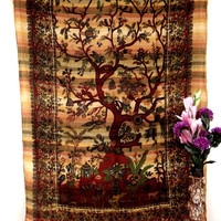 Yellow tree of life, tapestry,wall hanging,table cloth ,tapestries,hippie tapestries,indian tapestries,dorm tapestry,beach throw