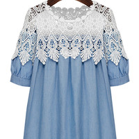 Blue Denim Lace Embroidered Short Sleeve Pleated Top
